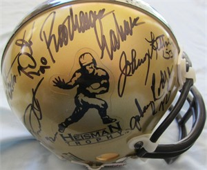12 Heisman Trophy winners autographed mini helmet (Joe Bellino Glenn Davis Archie Griffin Dick Kazmaier Johnny Lattner Johnny Lujack)