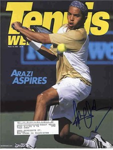 Hicham Arazi autographed Tennis Week magazine cover