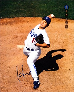 Hideo Nomo autographed Los Angeles Dodgers 1997 Pinnacle Zenith 8x10 photo card JSA