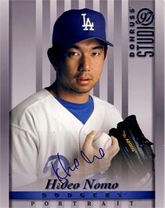 Hideo Nomo autographed Los Angeles Dodgers 1997 Studio 8x10 photo card