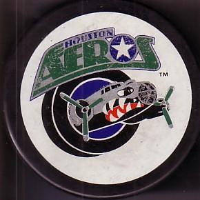 Houston Aeros IHL 1990s logo hockey puck