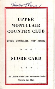 Homero Blancas autographed Upper Montclair Country Club 1960s golf scorecard