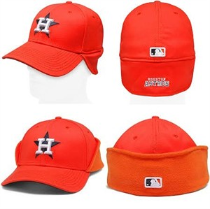 Houston Astros authentic New Era game model alternate orange cap or hat with fleece downflap