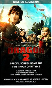 How to Train Your Dragon 2 2014 Wondercon screening pass or promo card