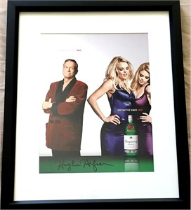Hugh Hefner autographed Tanqueray full page magazine ad matted & framed