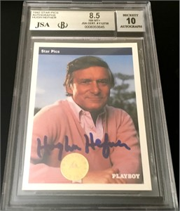 Hugh Hefner certified autograph Playboy 1992 Star Pics card graded BGS 8.5 JSA