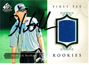 Hunter Mahan autographed 2004 SP Signature golf tournament worn shirt card