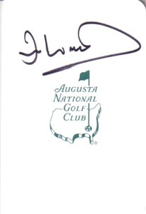 Ian Woosnam autographed Augusta National Masters scorecard