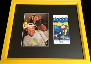 Ichiro Suzuki autographed 2006 World Baseball Classic Final ticket framed with Japan celebration photo