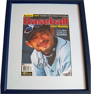 Ichiro Suzuki autographed Seattle Mariners Dec. 2001 Beckett Baseball cover matted & framed