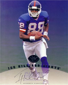 Ike Hilliard certified autograph New York Giants 1997 Leaf 8x10 photo card