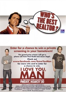I Love You Man movie promo contest card (Paul Rudd Jason Segel)