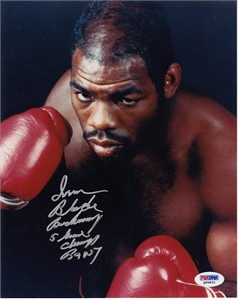 Iran Barkley autographed 8x10 boxing photo inscribed 5 time champ (PSA/DNA)