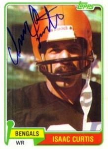 Isaac Curtis autographed Cincinnati Bengals 1981 Topps card