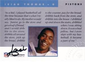 Isiah Thomas certified autograph Detroit Pistons 1992 Pro Line card