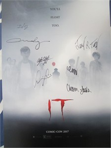 IT cast autographed 2017 Comic-Con exclusive movie poster (Finn Wolfhard)