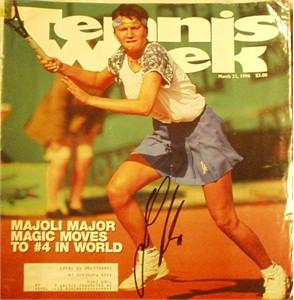 Iva Majoli autographed Tennis Week magazine cover