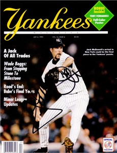 Jack McDowell autographed 1995 New York Yankees magazine