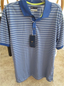 Jack Nicklaus Golden Bear blue striped Staydri golf shirt LARGE BRAND NEW WITH TAGS