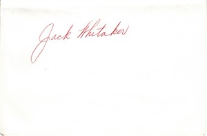 Jack Whitaker autographed album page