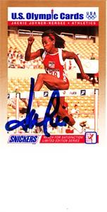 Jackie Joyner-Kersee autographed 1992 Snickers U.S. Olympic card