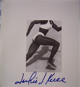 Jackie Joyner-Kersee autographed black & white photo page