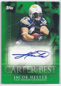 Jacob Hester certified autograph San Diego Chargers 2009 Topps Career Best card