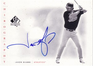 Jason Giambi certified autograph 2001 SP Authentic card