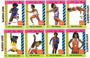 Jackie Joyner-Kersee 1990 McDonald's card set (8)