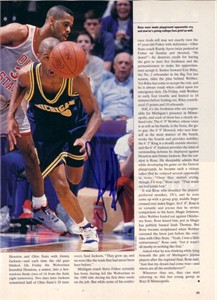 Jalen Rose autographed Michigan Wolverines Fab Five magazine photo