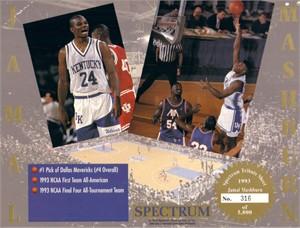 Jamal Mashburn Kentucky Wildcats 1993 Tribute 8x10 card sheet #316/5000
