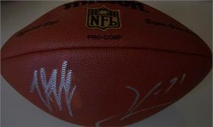 Trent Dilfer & Jamal Lewis (Baltimore Ravens) autographed NFL football