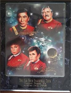 James Doohan Walter Koenig Nichelle Nichols George Takei autographed Star Trek 8x10 photo in plaque #161/250