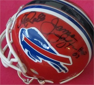 James Lofton & Andre Reed autographed Buffalo Bills mini helmet