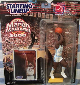 James Worthy autographed North Carolina Kenner Starting Lineup action figure