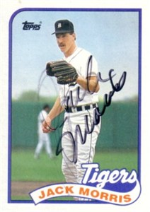 Jack Morris autographed Detroit Tigers 1989 Topps card