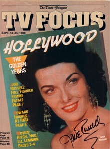 Jane Russell autographed 1988 TV Focus magazine cover