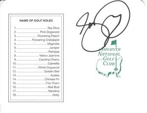 Jason Day autographed Augusta National Masters scorecard