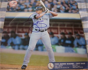 Jason Giambi autographed New York Yankees 2003 calendar page