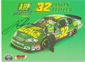 Jason Leffler autographed NASCAR 8x11 photo card
