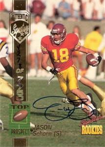 Jason Sehorn USC Trojans 1994 Signature Rookies certified autograph card