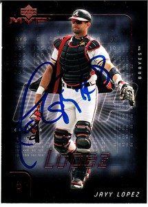 Javy Lopez autographed Atlanta Braves 2002 Upper Deck MVP card