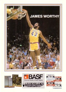 James Worthy Lakers 1984-85 BASF 5x7 card