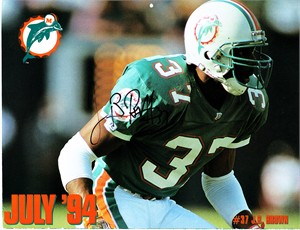 J.B. Brown autographed Miami Dolphins 1993-1994 calendar page photo