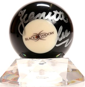 Jeanette Lee autographed Black Widow logo billiards 8 ball with lucite stand