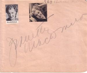 Jeanette MacDonald autographed autograph album or book page