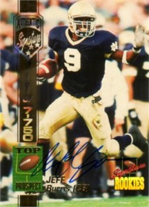 Jeff Burris certified autograph 1994 Notre Dame Fighting Irish card