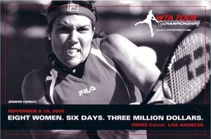 Jennifer Capriati 2003 WTA Tour 6x9 promo postcard