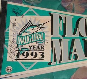 Jeff Conine Richie Lewis Matt Turner autographed 1993 Florida Marlins pennant