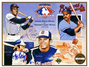 Jeff Burroughs autographed Atlanta Braves 1991 Upper Deck card sheet